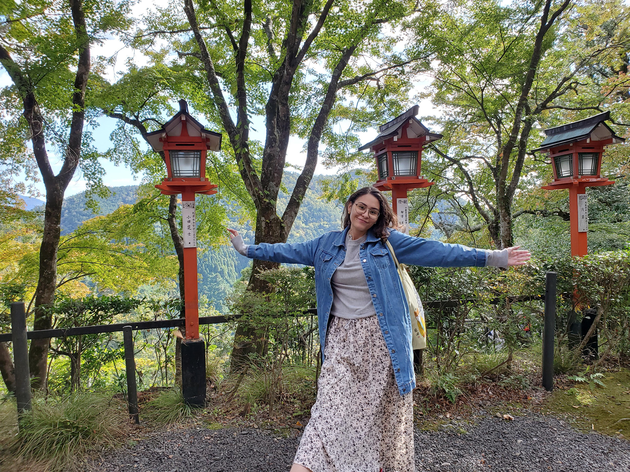 Gilman scholar Sally Cabrera '19, in Japan. Cabrera went on to also win the Boren Award