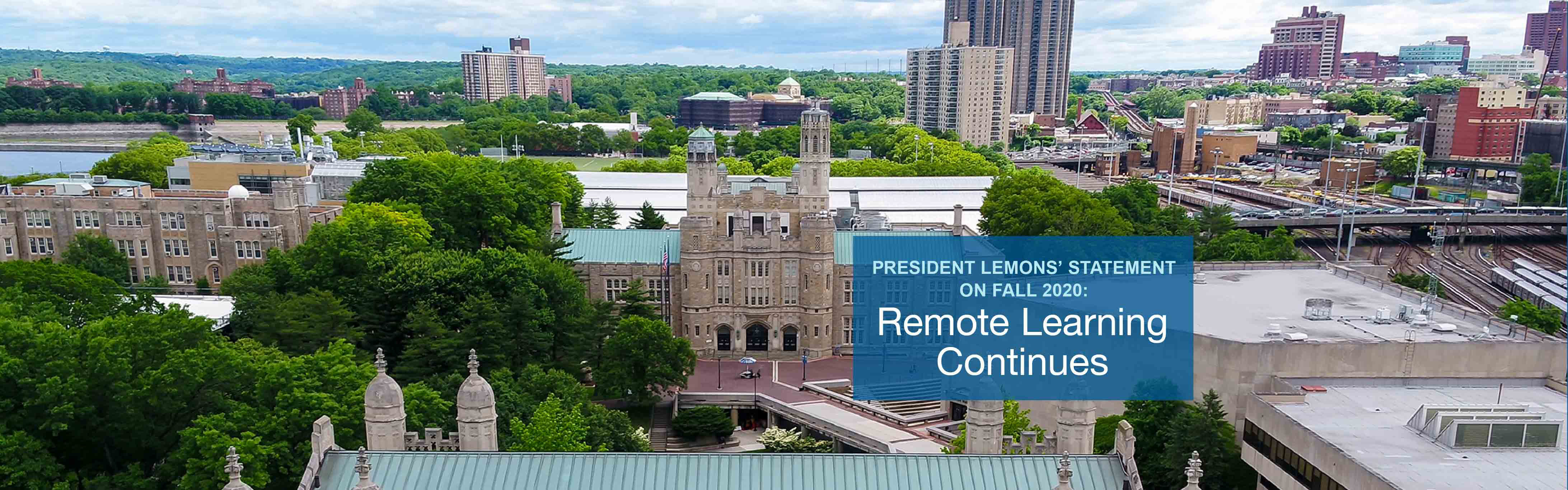 President Lemons Statement on Fall 2020 Online Learning Continues